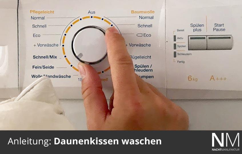 Daunenkissen richtig waschen, richtige Temperatur einstellen max. 40 C°