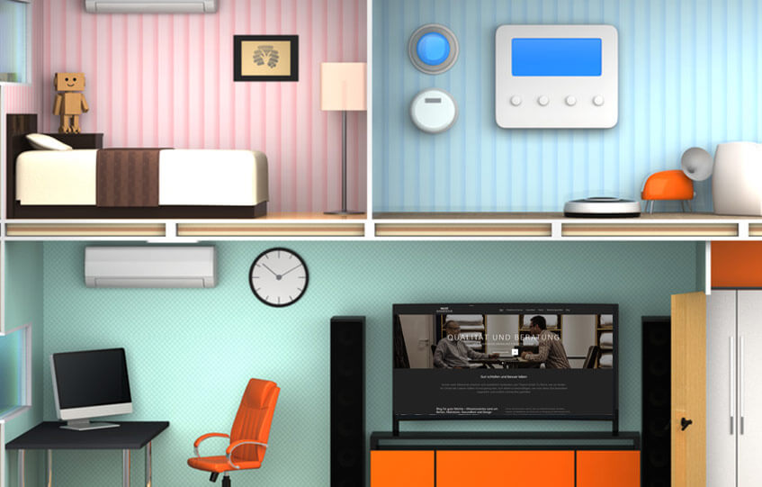 Blick in ein Haus, mit Schlafzimmer und Wohnzimmer