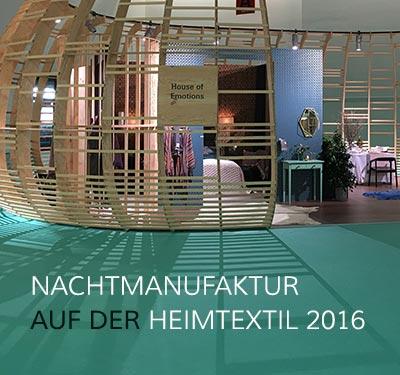 Ausstellungsobjekt auf der Heimtextil 2016: House of Emotions (offenes, rundes Holzhaus)